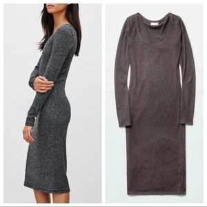 WILFRED FREE   Anouck Brown Ribbed Long Sleeve Dress Size Small